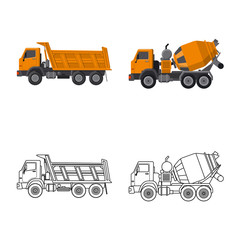 Isolated object of build and construction logo. Set of build and machinery vector icon for stock.