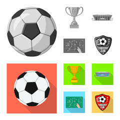 Vector illustration of soccer and gear sign. Collection of soccer and tournament stock vector illustration.