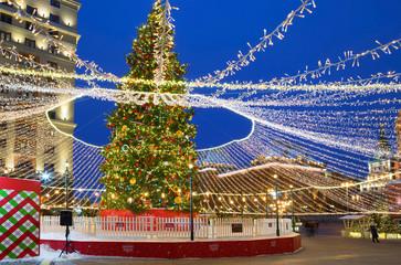 Moscow, Russia, Christmas tree on Manezhnaya square. New Year and Christmas. Manezh square in Moscow was decorated with Christmas tree and decorative designs.