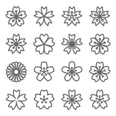 Sakura Cherry Blossom Japan Flower Vector Line Icon Set. Expanded Stroke