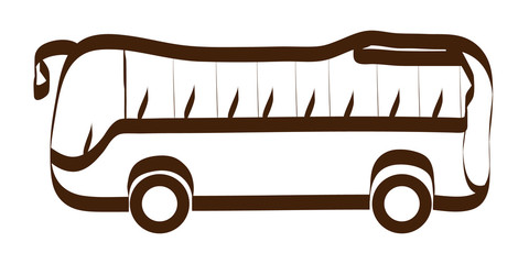 Vector bus icon in trendy linear style isolated on white background