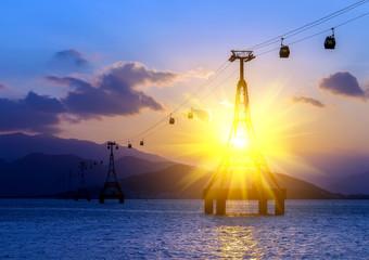 Fantastic sunset funicular cable car