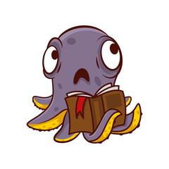 Purple octopus with sad face holding book in tentacle. Humanized marine creature. Cartoon vector icon