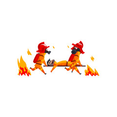 Firefighters carrying the injured on stretchers, firemen characters in uniform at work vector Illustration on a white background