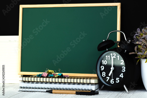 Back to school and education concept, green chalkboard with
