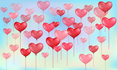 Heart balloons for Valentines Day on sky background.