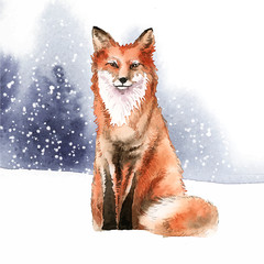 Wall Mural - Hand-drawn fox in the snow watercolor style