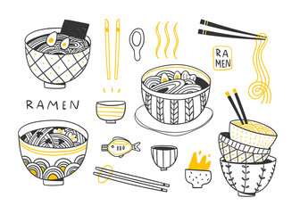 Doodle Ramen. Various noodles and other objects. Hand drawn vector set. All elements are isolated