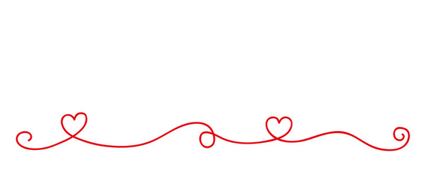 red heart tendril border isolated on white background vector illustration EPS10