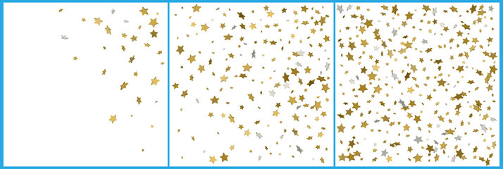 3d gold and silver stars confetti celebrations. Simple festive modern design. Holiday vector. Set 3 in 1