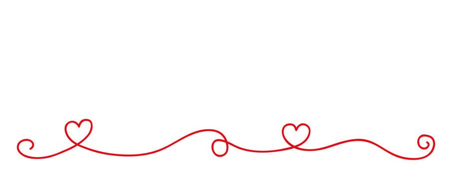 red heart tendril border isolated on white background vector illustration EPS10