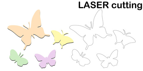 Retro cut, great design for any purposes. Vector design. Butterfly vector illustration. Vector background. Decorative element. Abstract modern decoration. Laser cut vector set.