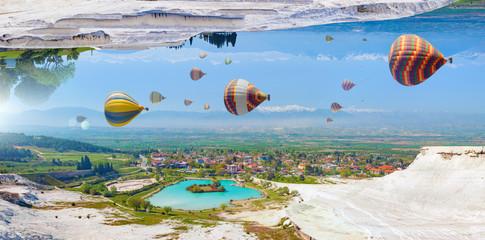 Fototapeta Amazing fantastic unreal world, hot air balloons fly in blue sky obraz
