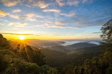 Beautiful sunrise over the mountains image for background, wallpaper, interior.