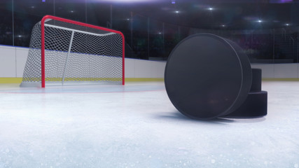 ice hockey stadium and goal gate with puck front and camera flash behind, hockey and skating stadium indoor 3D render illustration background