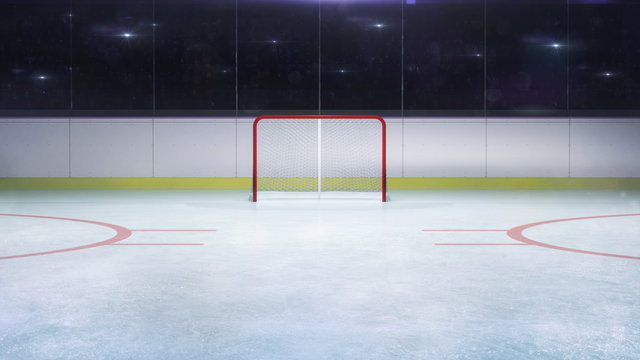 ice hockey stadium goal gate front general view and camera flashes behind, hockey and skating stadium indoor 3D render illustration background