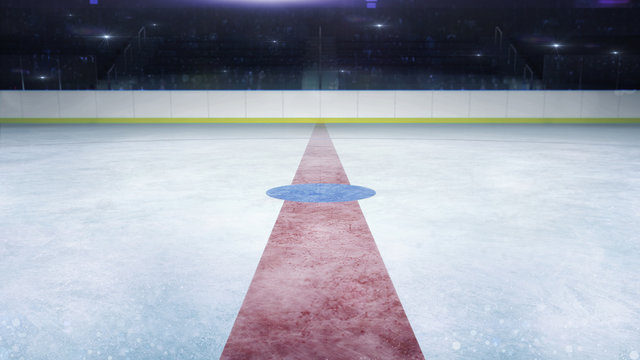 ice hockey stadium middle line general view and camera flashes behind, ice hockey and skating stadium indoor 3D render illustration background
