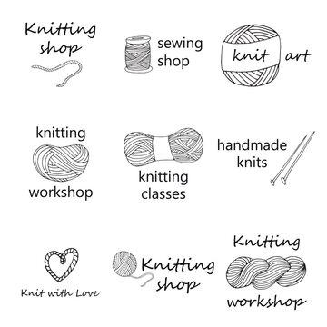 Knitting yarn logo set in hand drawn style