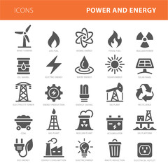 Energy icons grey vector illustration set