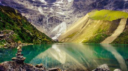 The Humantay Lake and its splendid colours