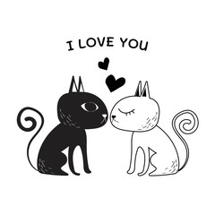 Illustration of couple lover cat.