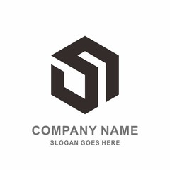 Monogram Letter S Geometric Square Cube Hexagon Business Company Vector Logo Design