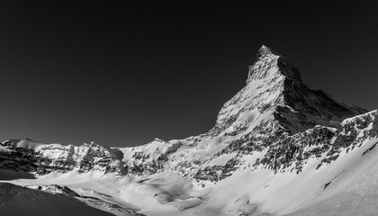 A wonderful Black and White image of the north face of the world famous Matterhorn on a cloudless...