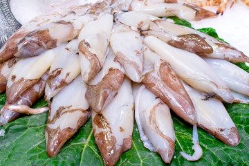 A pile of Fresh squids on a green leaf and ice sold on fish market in Barcelona