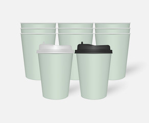 Disposable mint green paper to go coffee cups with plastic lids, mockup