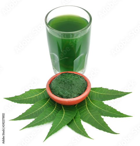 Medicinal neem leaves with ground paste and extract