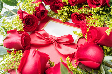 Greeting card with red rose / valentine still life