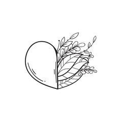 Half of heart with green leaves. Symbol of love and life, ecology. Vector in doodle style. Template for Valentine day. Coloring book