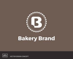 Bakery logo template. Letter B. Bite mark.