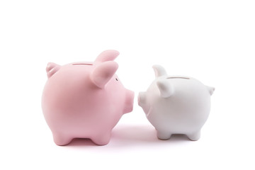 Two piggy banks on white background with clipping path