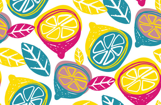 Citrus lemon lime doodle pattern background