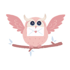 Cute pink owl who brought a love letter. Colorful vector illustration.