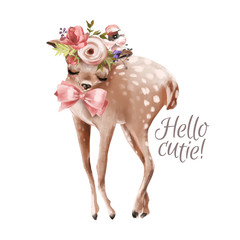 Cute hand drawn baby deer with floral wreath, bouquet, flowers and tied bow