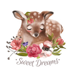 Cute hand drawn dreaming baby deer with floral wreath, bouquet, flowers