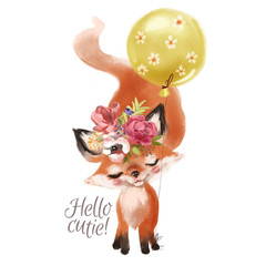 Cute hand drawn baby princess fox with floral wreath, bouquet, flowers and balloon