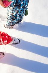 Walking in snow. Spaziergang im Schnee.