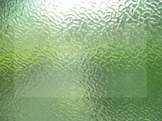 Thick, green glass, background, texture, space for writing messages