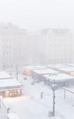 Snow storm in city.  Schneesturm in Stadt.