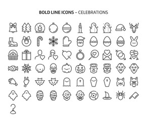 Celebrations, bold line icons