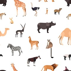 Seamless pattern with wild African animals on white background. Backdrop with fauna of Africa. Colored vector illustration in flat cartoon style for wrapping paper, textile print, wallpaper.