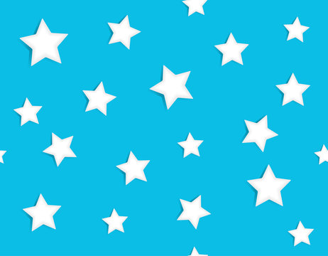 Abstract confetti seamless pattern with white stars scattered on light blue background. Festive holiday vector illustration.