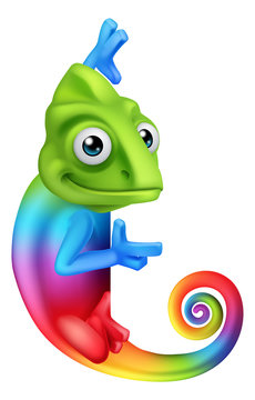 A chameleon cartoon lizard rainbow color character peeking around a sign and pointing