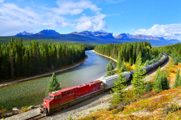 Train passing famous Morant's curve at Bow Valley,  Canadian Rockies,Canada.