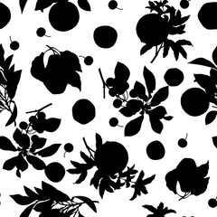 A seamless lemon, pear, cherry and pomegranate pattern on white background.