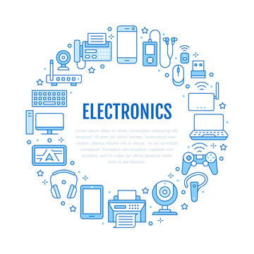 Electronics circle poster with flat line icons. Wifi internet connection technology signs. Computer, smartphone, laptop, fax, game controller, keyboard. Vector illustration for devices store brochure