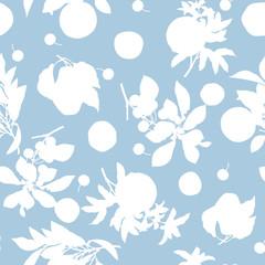 A seamless lemon, pear, cherry and pomegranate pattern on light blue background.